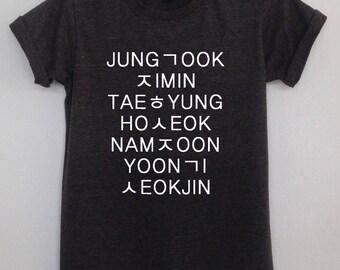 BTS K-pop Bangtan boys Name tshirt unisex korea pop