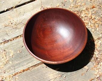 Solid Wood Bowl, Sapele Mahogany Wood, Food Safe, Medium Sized Wooden Salad Bowl, Hand Turned African Mahogany Wood, Solid Wooden Bowl