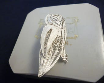 "Valentines -A superb filigree silver owl brooch - 925 - sterling silver - 1.75"" - h"
