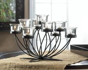 Unique Black Iron Framework Upward Blooms Candle Holder Centerpiece