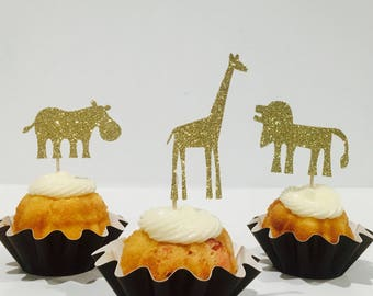 12ct Safari glitter cupcake toppers, Animal cupcake toppers, Zoo cupcake toppers