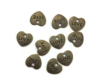 Heart Charms, Charms for Jewelry Making, Bulk Love Charms, Lot of 10 Charms,Jewelry Supply, Brass Love Charms, Jewelry Findings, Pack of 10
