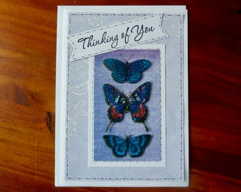 Handmade Thinking of You Card, 5x7 Butterfly Thinking of You Card, Get Well Card, Sympathy Card, With Love, Paper Handmade Greeting Card