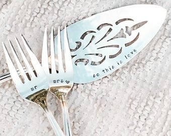 hand stamped wedding forks and cake server, Cinderella wedding
