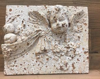 Cherub Cement Wall Plaque Sculpture For Indoor/Outdoor Display
