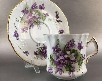 Spode Hammersley Victorian Violets Vintage Floral Bone China Teacup England