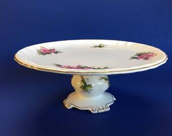 Royal Albert Prairie Rose Bone China Cake Stand Vintage England