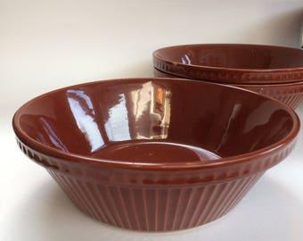 "Pyrita Ware Pottery Antique Serving Bowl Casserole Rich Brown Historic Pieces 9 1/2"""