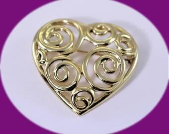 Vintage Heart Brooch Heart Pin Vintage Heart Pin Gold Heart Brooch Wedding Brooch Vintage Brooch Costume Jewelry Vintage Jewelry Vintage