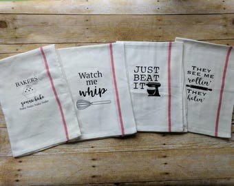 Set of 4 - Kitchen Towels - Watch Me Whip - They See Me Rollin' - Just Beat It - Baker's Gonna Bake