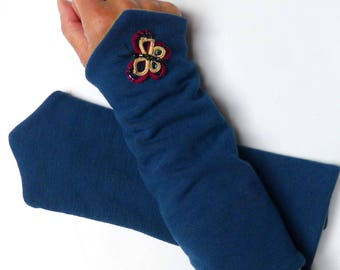 Fingerless gloves arm warmers blue Jersey with butterfly
