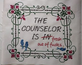 """PDF - funny cross stitch pattern - The Counselor Is """"In"""""""