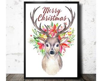Christmas Deer, Christmas Printable, Printable Art, Christmas Floral, Merry Christmas, Christmas Decor, Christmas Art, Instant Download