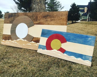 Colorado Flag- Carved Mountains ( customizable ) FREE SHIPPING