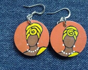 Headwrap Painted Wood Earrings -- orange