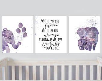Elephant Nursery Printable Purple Elephant Nursery decor set of 3 Printables