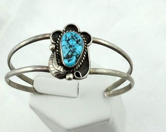 Gorgeous Vintage Blue Kingman Mine Turquoise Nugget Sterling Silver Native American Cuff Bracelet  #KINGMAN-CF1