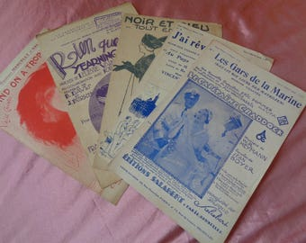 Lot 6. Five Vintage French Popular Art Deco Sheet Music Scores 1920, 1930s.