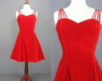 90's Party Dress    90's Red Velvet Sweetheart Mini Party Dress 90's Prom Dress Size Medium