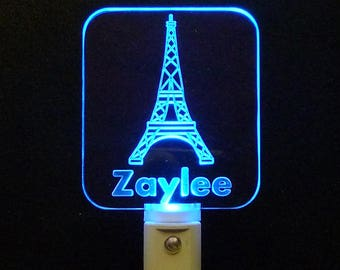 Personalized Eifell Tower LED Night Light, Lamp, Handmade, Unique Gift