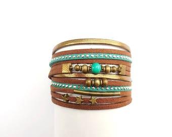 multi links suede leather bracelet with Rhinestones green brown suede