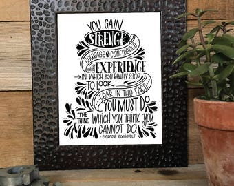 STRENGTH, COURAGE & CONFIDENCE quote, Hand Lettered, Hand Drawn, Illustrated, Encouragement, Print, Calligraphy