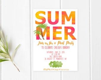 Pool Party Invitation, Birthday Party Invitation, Summer, Pool Party, Birthday Party Invitations for Girls, Birthday Party Invites [263]