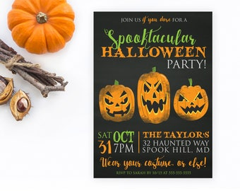 Halloween Party Invitation, Happy Halloween Invitation, Chalkboard Halloween Invitation, Halloween Invites, Costume Party Invites [299]