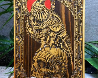 Art by Bioworkz Engraved on Wood, Skull Painting, Painting on Wood, Wood Art Decor, Wood Wall Art, Art on Wood, Skull Art, Vulture Art