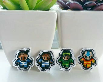 Avatar The Last Airbender Inspired Cross Stitch Pins