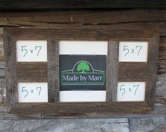 Rustic Barn Wood Picture Collage Frame 11x14 In Center And 4 5x7 Reclaimed Grey