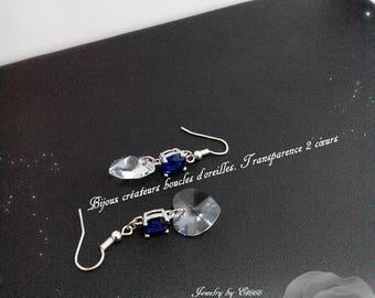 Creative jewelry earrings. Transparency 2 hearts