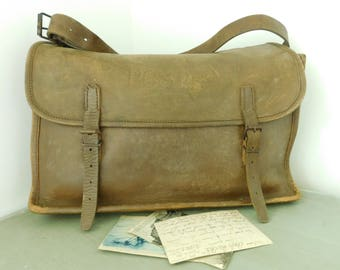French vintage mailbag  Leather post bag  Leather messenger bag  Computer bag  Weekend bag  Leather satchel