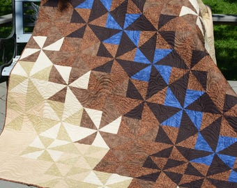 Brown half Squares triangles 70x88 in