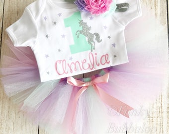Personalised Unicorn 1st Birthday Tutu Outfit, Gold Glitter Number Top, Headband, Pastel Rainbow Baby Girl, Cake Smash First Mint Lilac Pink