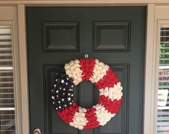 Patriotic Burlap Wreath - 4th of July Burlap Wreath - Patriotic Burlap Bubble Wreath