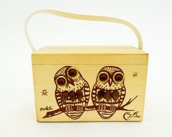 60s Wood Box Purse   Wooden Owlets Bejeweled Purse Handbag   Enid Collins