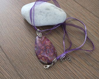 Natural Magenta Agate Necklace