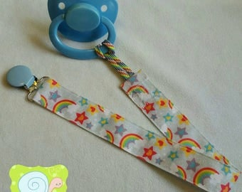 Glitter Rainbows and Stars Adult Pacifier Clip (ABDL)