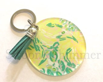 Lemon Acrylic Blanks, 2.5 Inch Circles 1 Hole, tassel Keychain blanks, blank acrylics, circle keychains, monogram keychain, green tassel