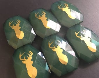 Gold Deer on XL green Beads, forest green beads, deer beads, gold beads, green jewelry, jewelry charm necklace
