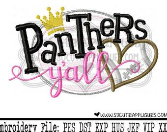 Football Embroidery design, Panthers yall, football sister applique, football mom, socuteappliques, embroidery sayings, touchdown applique