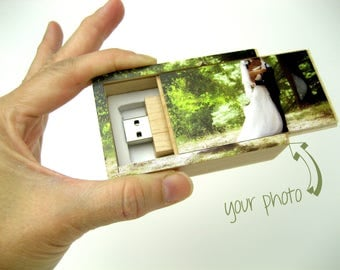 Logo USB Drive - Photo Flash Drive - Photo USB Drive - Wedding Photo USB stick - usb flash drive with box - 8Gb