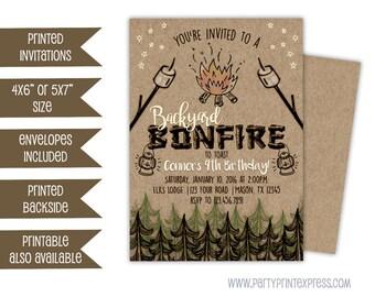 Bonfire Invitations - Bonfire Birthday Invitation - Bonfire Party Invite - Rustic Camping Invitation - Backyard Bonfire Party - Kids Adult
