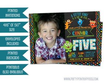 Photo Monster Birthday Invite - Monster Party Invitation - Monster Invitation - Chalk Monster Invite - Little Monster Invitation - Monsters