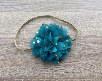 Baby Headband, Flower Headband, baby accessories, Girls accessories, Turquoise Flower, first birthday headband