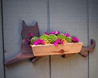 Cat Succulent Planter , Wall  planter , Small Vertical Garden Planter , Indoor or Outdoor with Drainage – Get Succulent Gift Ideas !