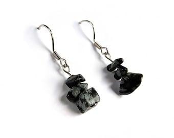 Handmade earrings obsidian, genuine obsidian jewelry gemstone, natural stone jewelry, healing crystal earrings, natural obsidian jewel ahin