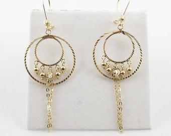 14k Yellow Gold Hoop Earrings - 14k Gold Bead Ball Dangling Earrings 2.7 grams