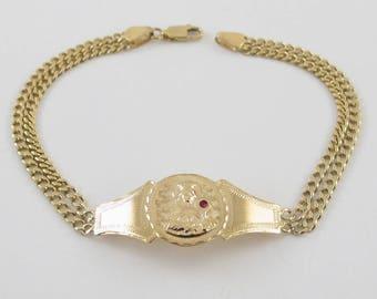 "14k Yellow Gold Miami Cuban Link Saint Barbara Bracelet 8"" 10.4 grams"